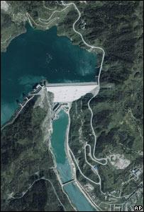 Foto satelital de la presa de Zipingpu