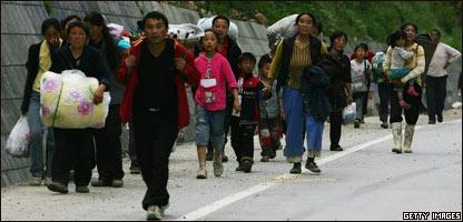 Damnificados por el terremoto en China