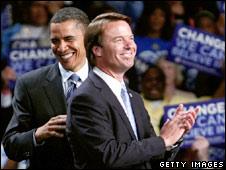 Senator Obama and John Edwards at Michigan rally, 14 May