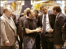 Barack Obama with workers at the Detroit plant, 14 May