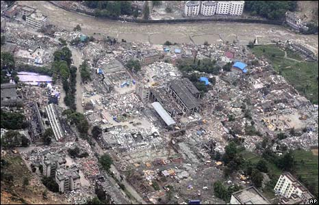 An aerial view of the badly stricken town of Yingxiu in Wenchuan county, released by Xinhua