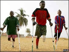 People in Sierra Leone with amputated legs