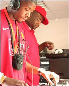 Andrew in action with Radio 1Xtra's Ace on the turntables