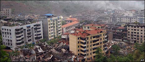 Beichuan was badly affected by the quake