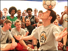 Billy Wingrove inspires the crowd with his freestyle moves