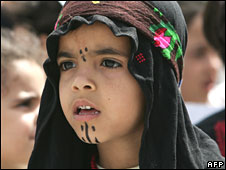 "A Palestinian child marks the ""Nakba"" in Gaza City on 15 May 2008"