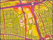 Noise map of an area in west London (Copyright: Crown copyright. All rights reserved Defra 100018880 2007)