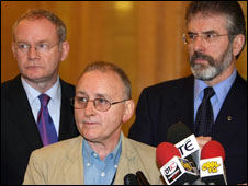 Denis Donaldson with Martin McGuinness and Gerry Adams