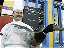 Chef Didier Durand outside his restaurant in Chicago, 14 May 2008