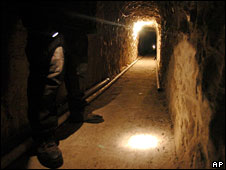 Tunnel under the Mexico-US border used by drugs smugglers