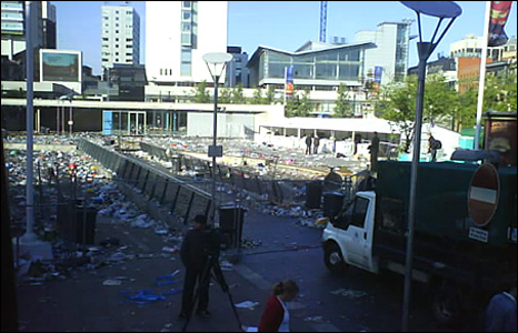 Manchester's picadilly gardens littered with rubbish