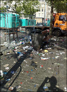 Litter truck in Manchester city centre