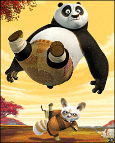 Po (Jack Black) and Shifu (Dustin Hoffman) from Kung Fu Panda