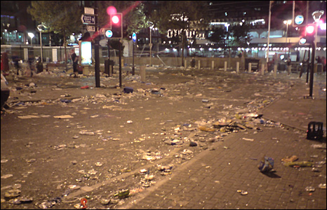 Rubbish in Manchester city centre