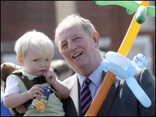 18-month-old Zakk Surgenor with his grandfather councillor Bob Stoker