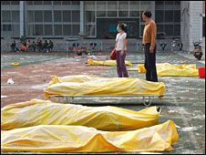 Body bags in Hanwang 15 May 2008