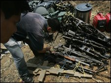 Weapons found at the Farc camp