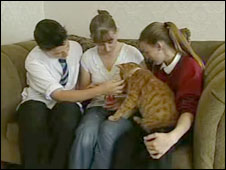 The Horton family and cat George
