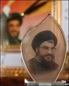 Nasrallah memorabilia in a shop in southern Beirut