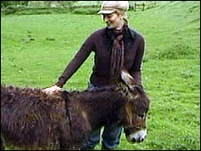 Anna Usborne with Chester, one of the two Chalford donkeys