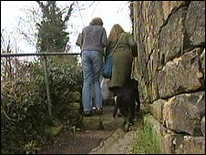 Residents on one of the steep, narrow paths of Chalford