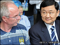 Manchester City boss Sven-Goran Eriksson and owner Thaksin Shinawatra