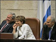 Bush, Peres and Parliament speaker Dalia Itzik at the Knesset, Israel's Parliament