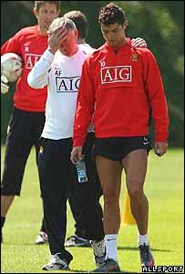 Alex Ferguson y Cristiano Ronaldo durante el entrenamiento
