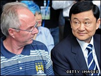 Manchester City manager Sven-Goran Eriksson (left) and club owner Thaksin Shinawatra pictured in Bangkok on Thursday