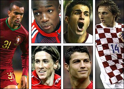 Clockwise from left: Jose Bosingwa, Lassana Diarra, Cesc Fabregas, Luka Modric, Cristiano Ronaldo, Fernando Torres