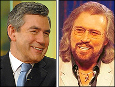 Gordon Brown and Barry Gibb