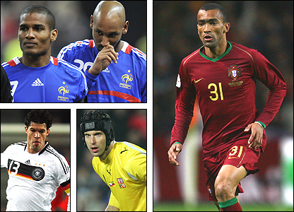 Clockwise from left: Florent Malouda and Nicolas Anelka, Jose Bosingwa, Petr Cech, Michael Ballack
