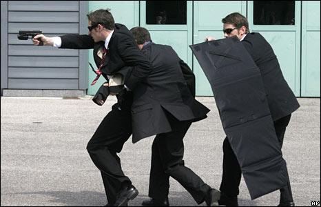 Members of Austria's special police unit Cobra present their skills to the media.