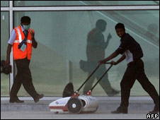 A cleaner prepares the new Bangalore airport