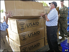 USAID supplies in Rayong, Thailand, on 14 May 2008