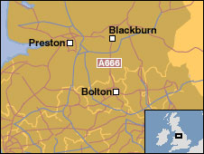 Map showing Blackburn and Bolton
