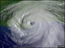 Satellite image of Hurricane Katrina (Image: Noaa)
