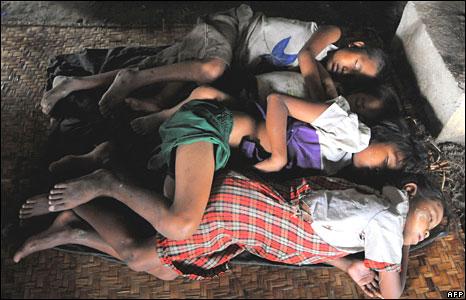 Burmese children sleep in a monastery near Rangoon