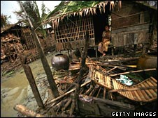 A destroyed house in Burma