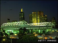 Night view of Melbourne Park during the Australian Open