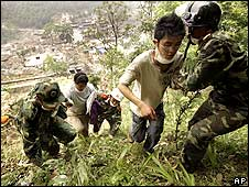 People fleeing from Beichuan 17/5/08