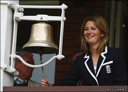 England women's captain Charlotte Edwards rings the bell for the start of play