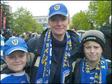 Sara Jones and her sons Charlie and Harry Lovell-Jones