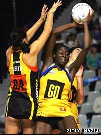 Sonia Mkoloma catches a rebound during a match against Waikato.
