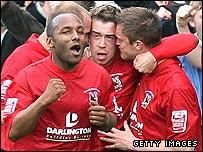 Darlington celebrate as they take the lead
