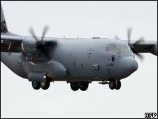 RAF C130 Hercules transport aircraft
