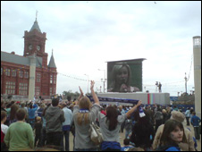 People gathered to watch the game in Cardiff Bay