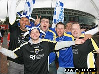 Cardiff fans soak up the Wembley atmosphere before the FA Cup