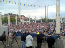 Crowds watching the game at Roald Dahl Plass