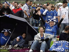 Fans on Southsea Common